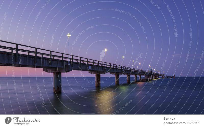 Seebrücke Zinnowitz Wasser Himmel Wolkenloser Himmel Nachthimmel Horizont Sonnenaufgang Sonnenuntergang Sommer Herbst Strand Ostsee Meer Architektur