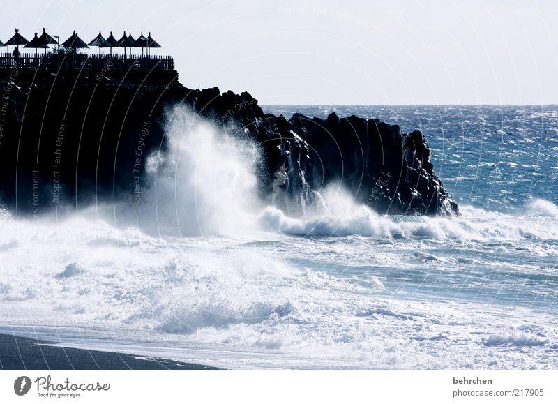 unerschrocken, selbstsicher, stark... Tourismus Ferne Freiheit Umwelt Natur Landschaft Wasser Horizont Klimawandel Schönes Wetter Wind Sturm Felsen Wellen Küste