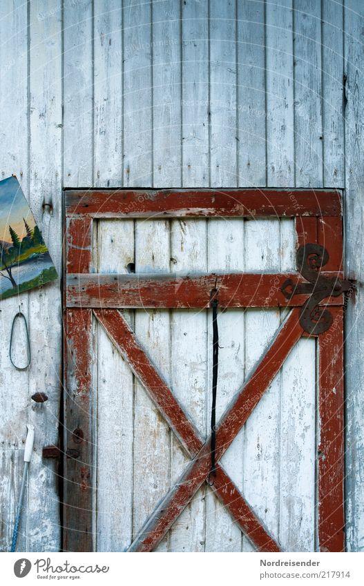 Schieflage Stil ruhig Häusliches Leben Dekoration & Verzierung Kunst Gemälde Bauwerk Architektur Tür Holz Ornament alt einzigartig Design Identität Kitsch