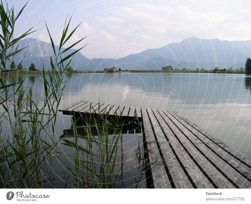Silence Bayern See Berge u. Gebirge grün Reflexion & Spiegelung Sommer Steg benediktbeuern karl orff carmina burana Wasser blau