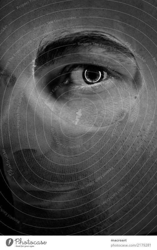 Riskiere einen Blick Mann Gesicht Auge maskulin kaputt Kreis Bart Loch Strumpfhose Voyeurismus Fetischismus Regenbogenhaut Fußfetischismus Laufmasche