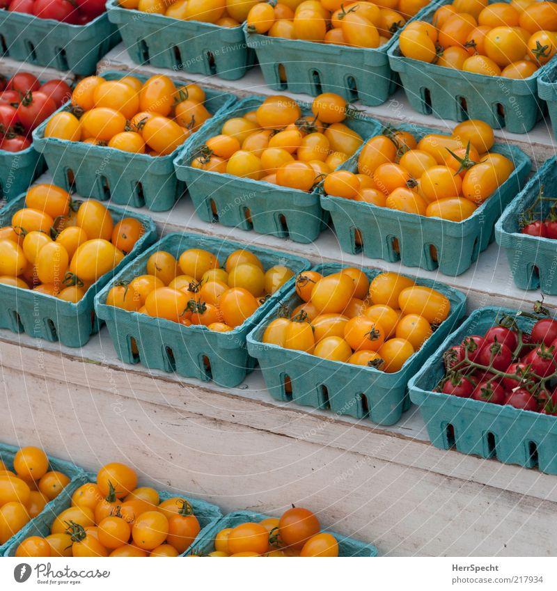 Tomätchen Lebensmittel Gemüse Tomate Cocktailtomate blau gelb rot Schalen & Schüsseln Behälter u. Gefäße Ordnung aufgereiht Marktstand Markttag
