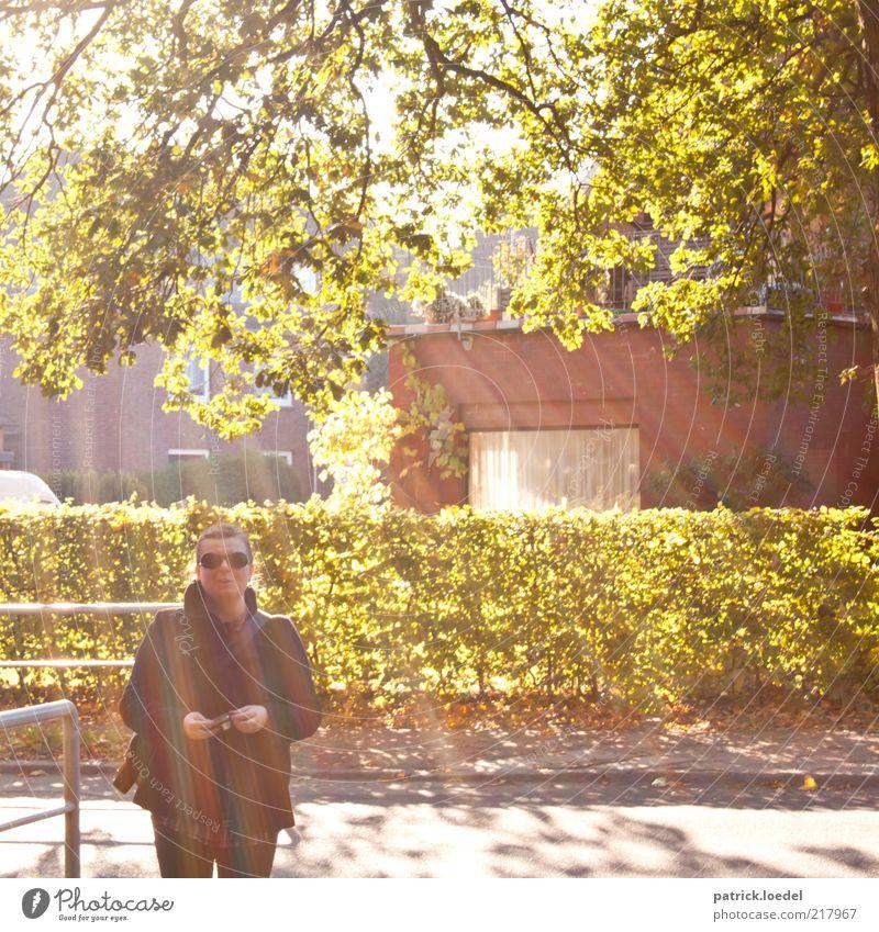 Licht und Liebe Mensch Frau Baum Blatt Haus Erwachsene Straße Fenster Stil Ausflug Fröhlichkeit stehen Bekleidung Fotokamera Schönes Wetter Sonnenbrille