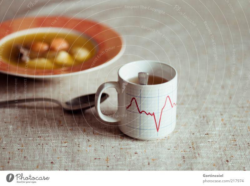 You make my heart skip a beat Lebensmittel Fleisch Gemüse Suppe Eintopf Ernährung Mittagessen Heißgetränk Tee Teller Tasse Löffel retro Suppenteller Hühnersuppe