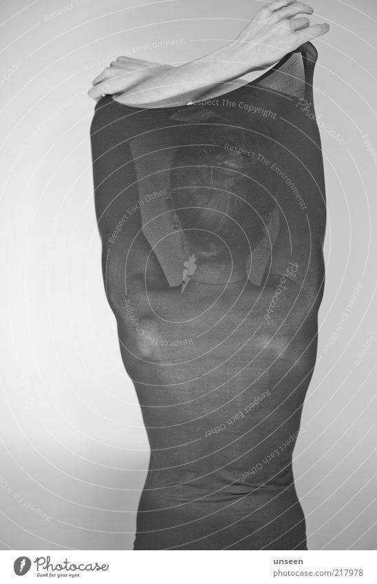 porcelain feminin Frau Erwachsene Rücken 1 Mensch 18-30 Jahre Jugendliche Stoff stehen ästhetisch schwarz weiß ruhig Einsamkeit geheimnisvoll Schutz