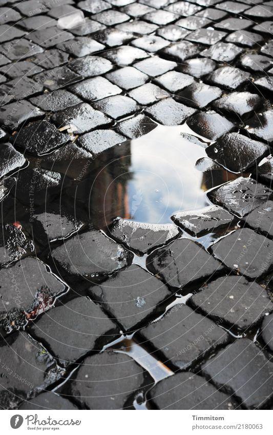 Kopf-Stein-Bild. Wasser einfach blau grau schwarz weiß Pflastersteine Pflasterweg Pfütze Farbfoto Außenaufnahme Menschenleer Tag Reflexion & Spiegelung