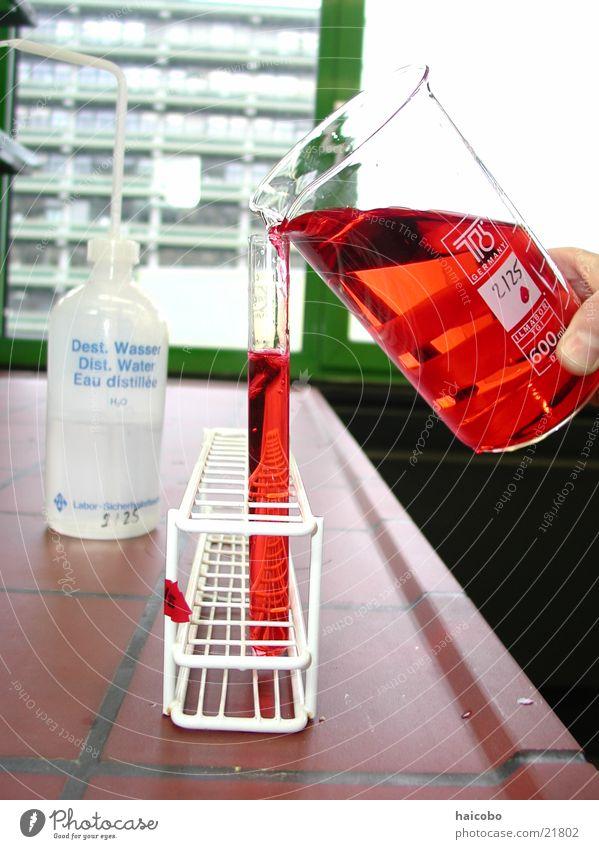 Labor Reagenzglas Bochum Experiment Wissenschaften Wasser Studium rote flüssigkeit Chemie