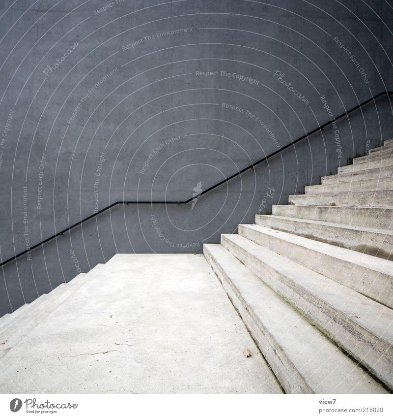 aufwärts Mauer Wand Fassade Stein Beton Linie ästhetisch authentisch außergewöhnlich einfach elegant schön modern neu grau Design Treppe Geländer