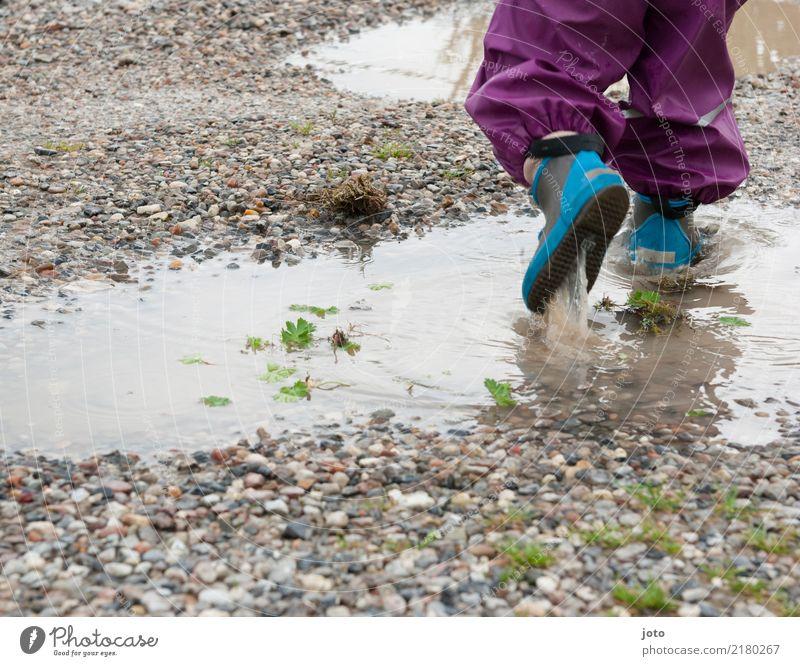Pfützenzeit Kind Ferien & Urlaub & Reisen Herbst Wege & Pfade Spielen Freiheit Ausflug Freizeit & Hobby Regen Lebensfreude Abenteuer laufen nass niedlich