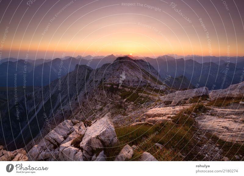 Sonnenaufgang von großer Daumen oben in den Alpen Ferien & Urlaub & Reisen Klettern Bergsteigen Natur Landschaft Himmel Sonnenuntergang Schönes Wetter Wärme