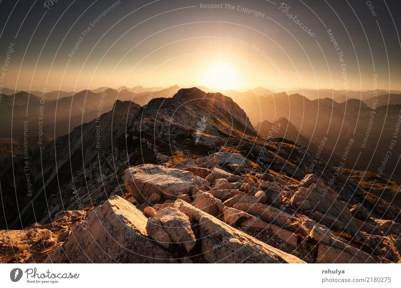 Sonnenaufgang von Bergspitze Grosser Daumen in Allgäuer Alpen Ferien & Urlaub & Reisen Sommer Berge u. Gebirge wandern Natur Landschaft Himmel Wetter