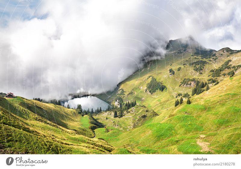 dichter Nebel beginnt den Alpensee Seealpsee zu bedecken Ferien & Urlaub & Reisen Berge u. Gebirge wandern Natur Landschaft Himmel Wolken Sommer Wetter