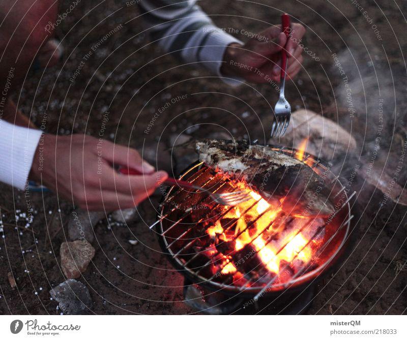 Fisch vom Grill. Hand Sommer Leben Freizeit & Hobby maskulin frisch Feuer Fisch Kochen & Garen & Backen Appetit & Hunger lecker Camping Grillen Sommerurlaub Momentaufnahme Versuch