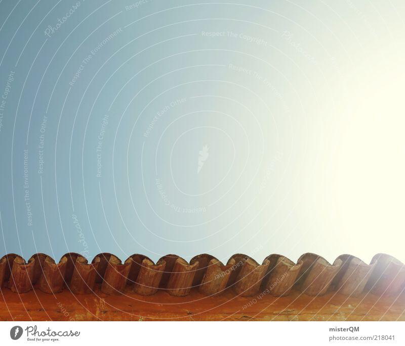 Sommer. Architektur Mauer Wand Dach Dachrinne ästhetisch südländisch mediterran Blauer Himmel Schönes Wetter sommerlich Sommertag Portugal Algarve Dachziegel