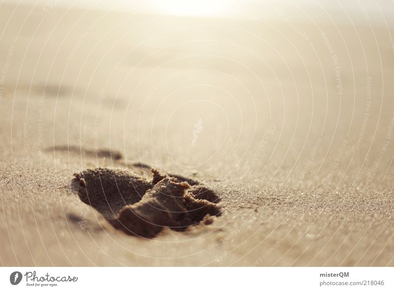 Fühlen. ästhetisch Zufriedenheit Strand Strandleben Urlaubsstimmung Urlaubsgesetz Sand Fußspur Spuren Zeit laufen Erholung Hintergrundbild dezent Abdruck ruhig
