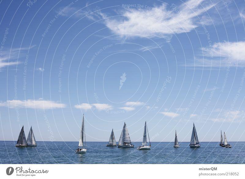 Regatta I weiß Meer blau Sommer Ferien & Urlaub & Reisen ruhig Wolken Ferne Sport Wasserfahrzeug Horizont ästhetisch Freizeit & Hobby Idylle Segeln viele
