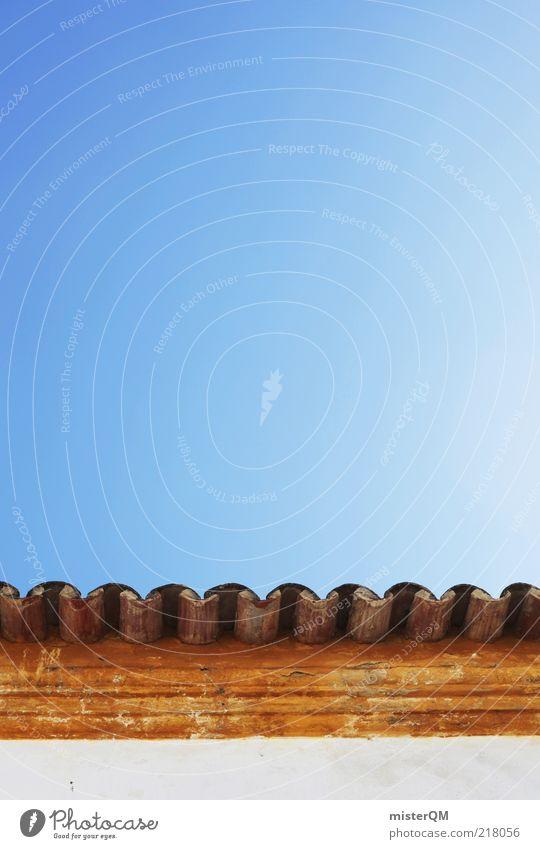 Blau-Orange-Weiß. Symmetrie Dach Dachgiebel blau Blauer Himmel orange weiß Ziegeldach Dachziegel Wölbung mediterran Sommer sommerlich Schönes Wetter Portugal