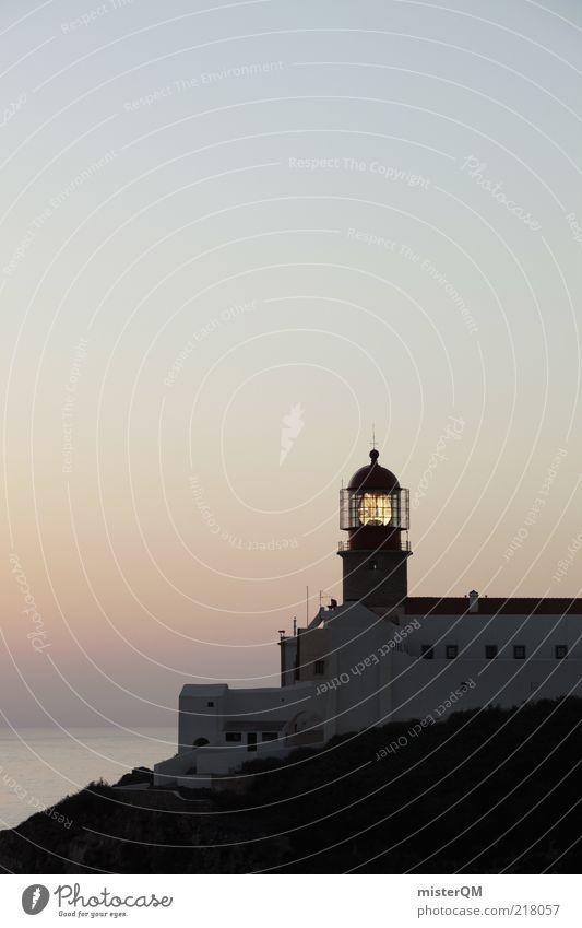Der Letzte macht das Licht aus. Ferien & Urlaub & Reisen Lampe dunkel Gebäude Luft Zufriedenheit Küste Horizont Felsen ästhetisch Romantik Turm Idylle