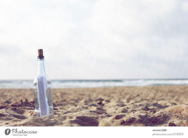 Dear Ocean. Kunst ästhetisch Symbole & Metaphern Flaschenpost Post Information Strand Sandstrand Meer Luft altmodisch Idylle Wellen Kommunikationsmittel Korken