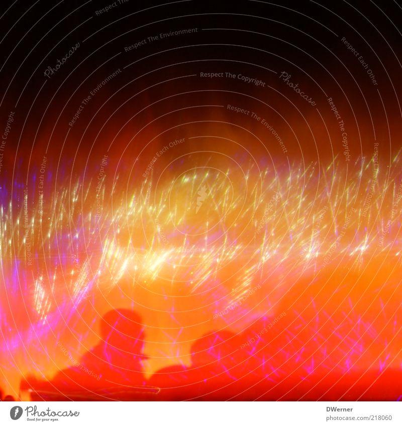 Lichterspiel 2 Mensch schön rot Kopf Bewegung Party Stimmung glänzend Energie Design Tanzveranstaltung verrückt Lifestyle Coolness leuchten Silvester u. Neujahr