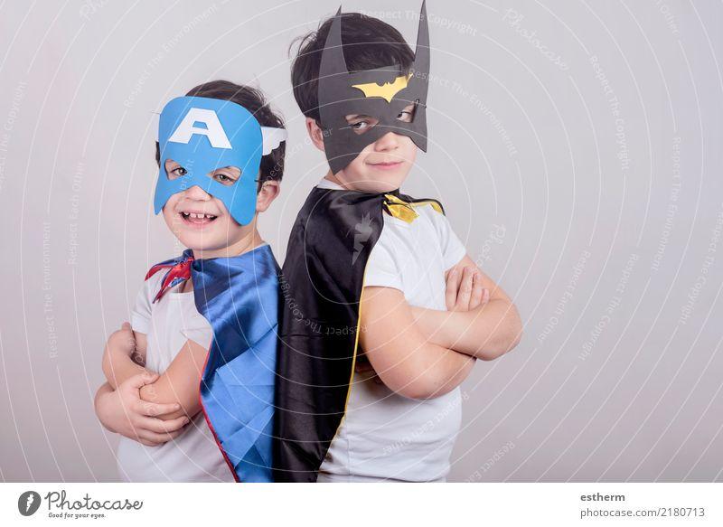 Als Superhelden verkleidete Kinder Lifestyle Party Veranstaltung Feste & Feiern Karneval Halloween Mensch maskulin Kleinkind Junge Geschwister Bruder