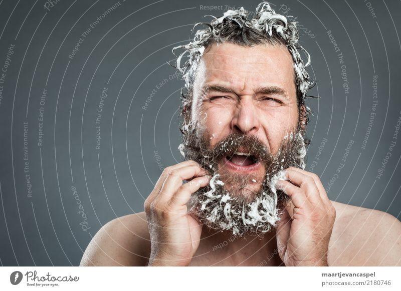 Hipster Problemen Mensch maskulin Mann Erwachsene Leben Bart 1 30-45 Jahre Haare & Frisuren brünett Vollbart außergewöhnlich trendy nass verrückt grau verstört