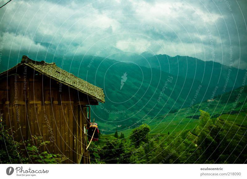 uralte und authentische Hütte Umwelt Natur Landschaft Pflanze Himmel Wolken Gewitterwolken Sommer schlechtes Wetter Wind Reisefotografie Reisfeld Wachstum