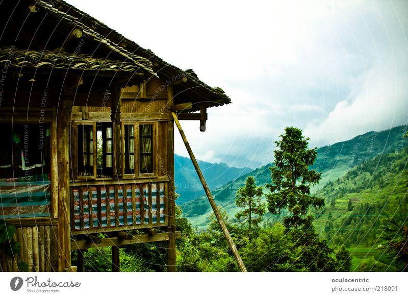 alles sehr alt, very good Umwelt Natur Landschaft Pflanze Himmel Gewitterwolken Sommer schlechtes Wetter Wachstum Tourismus Berghütte China Guilin Berghang