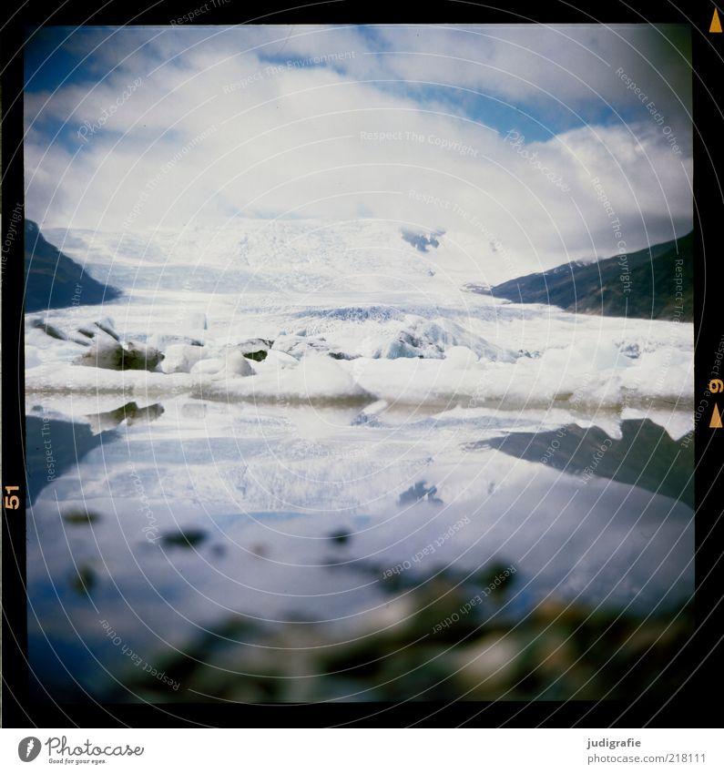 Island Natur Wasser Himmel Wolken kalt See Landschaft Eis Stimmung Umwelt Frost Klima wild natürlich Idylle analog
