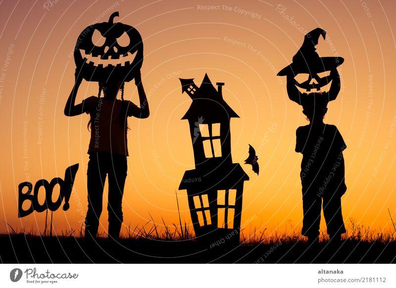 Glücklicher Bruder und Schwester, die draußen spielt Lifestyle Freude Spielen Haus Feste & Feiern Halloween Kind Mensch Junge Familie & Verwandtschaft