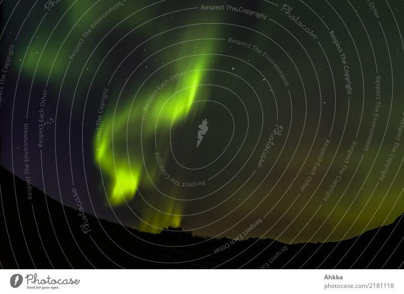 Nordlicht mit kleinem Wagen Natur Urelemente Nachthimmel Stern Klima Klimawandel Berge u. Gebirge Norwegen außergewöhnlich dunkel exotisch fantastisch