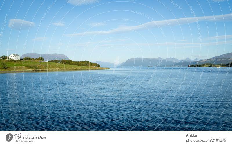 Sommerlandschaft in Norwegen, Fjord, blau Himmel Natur Ferien & Urlaub & Reisen Landschaft Meer Erholung ruhig Ferne Küste Glück Tourismus Ausflug Zufriedenheit