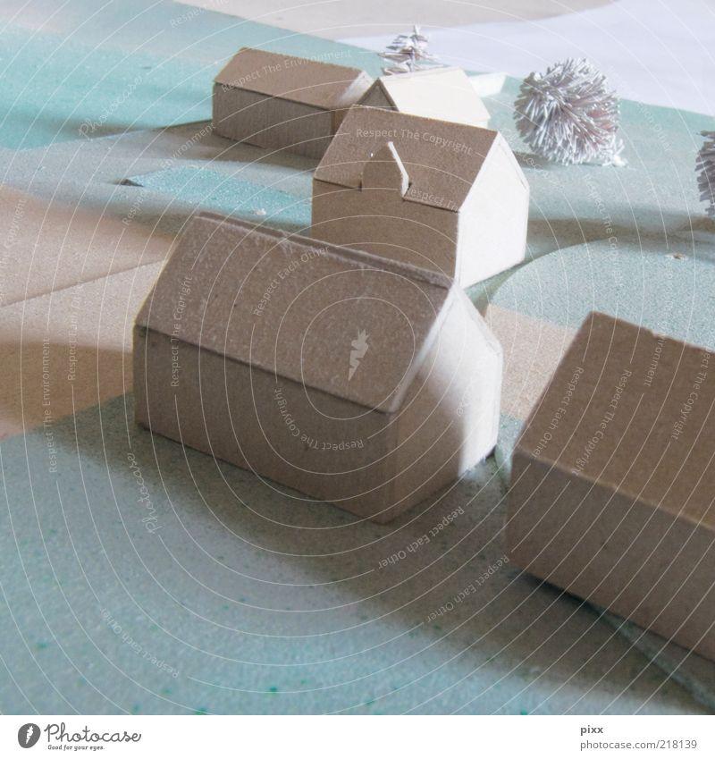haus der architektin ruhig Haus Hausbau Baum Dorf Kleinstadt Nachbildung Modellbau Farbfoto Innenaufnahme Menschenleer Miniatur klein weiß Entwurf Tag