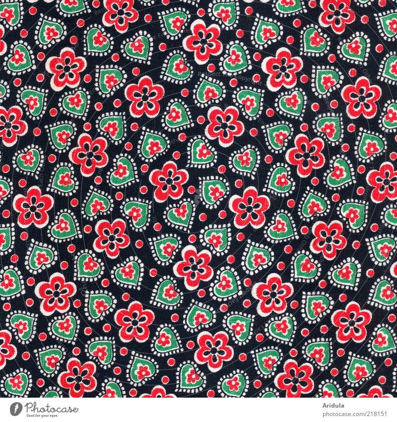 Stoffmuster_Blümchen/Herzchen grün rot schwarz Herz Mode Design Punkt Stoff niedlich Textilien Stil Muster Stoffmuster Blumenmuster herzförmig