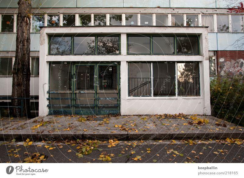 fh_003 dreckig Architektur Fassade Schulgebäude trist kaputt Verfall Vergangenheit Eingang schäbig Herbstlaub Schulhof Eingangstür Fensterfront