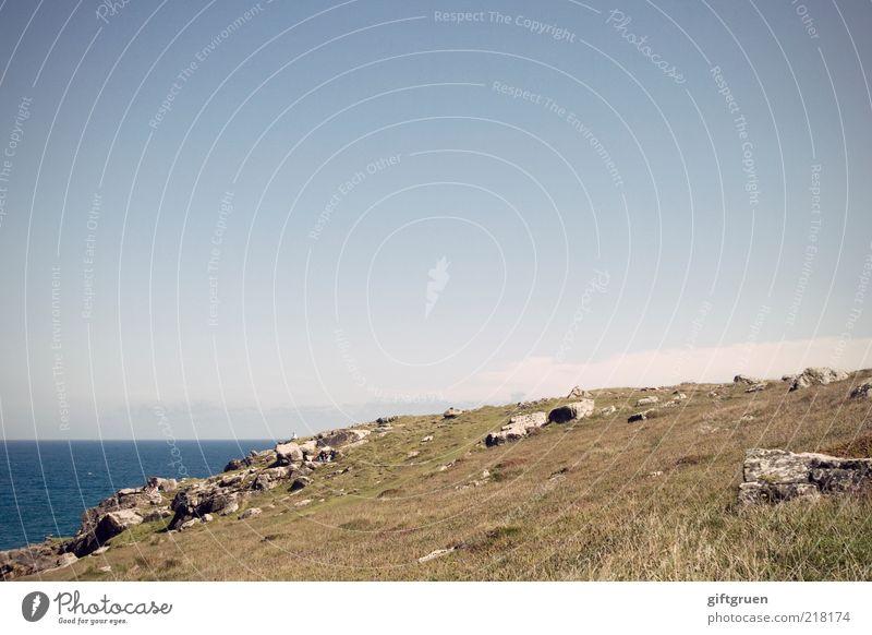 rosamunde Natur Wasser Himmel Meer blau Ferien & Urlaub & Reisen ruhig Wiese Gras Stein Landschaft Küste Umwelt Insel Klima Hügel