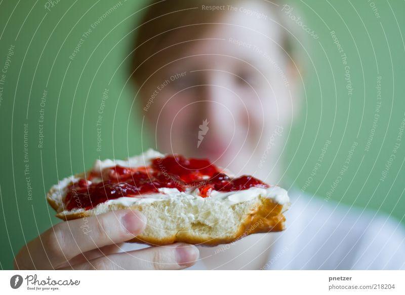 Frühstück Lebensmittel Marmelade Ernährung Essen Freude Glück Mensch Junge Frau Jugendliche Kopf Haare & Frisuren Gesicht 1 18-30 Jahre Erwachsene blond Lächeln