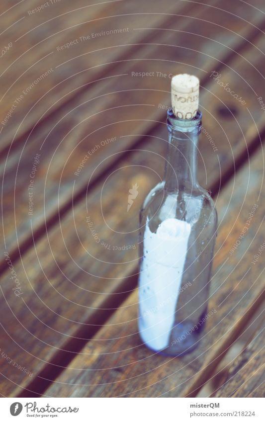 Post ist da. Stil Papier retro Romantik außergewöhnlich Telekommunikation Briefkasten Information Kontakt Vergangenheit E-Mail Zettel Flasche Weinflasche