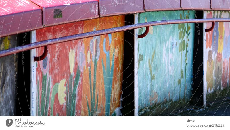 Coloured Up Wilhelmsburg Blume blau rot gelb Graffiti Metall Kunst rosa Brücke Ecke Metallwaren Bild festhalten Gemälde Grafik u. Illustration Kreativität