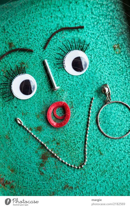 Emotionen...coole Gesichter: Mademoiselle Frau Mensch grün Auge Erwachsene feminin Mund türkis