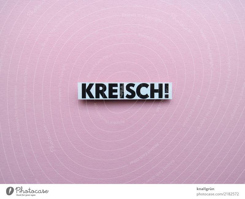 KREISCH! Schriftzeichen Schilder & Markierungen Kommunizieren eckig rosa schwarz weiß Gefühle Stimmung Freude Glück Lebensfreude Vorfreude Begeisterung Neugier