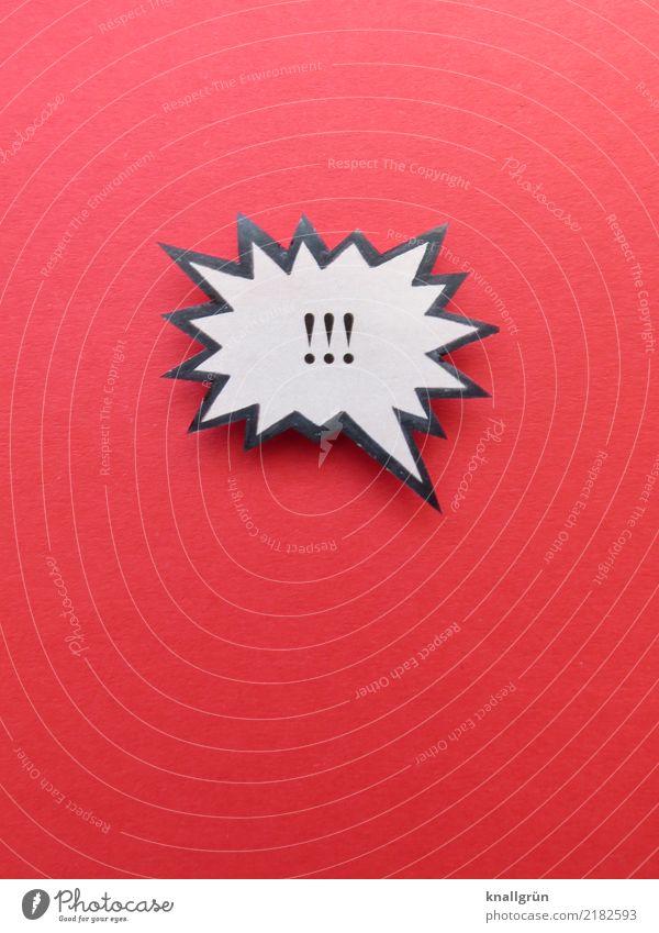 !!! Zeichen Schilder & Markierungen Hinweisschild Warnschild Kommunizieren eckig rot schwarz weiß Gefühle Wachsamkeit Neugier Ausrufezeichen Kontrolle