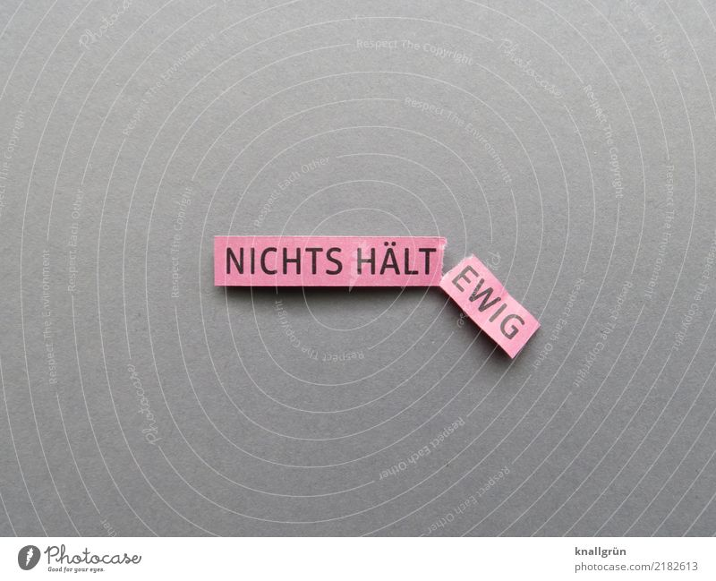 NICHTS HÄLT EWIG Schriftzeichen Schilder & Markierungen Kommunizieren eckig kaputt grau rosa schwarz Gefühle Stimmung Liebe Weisheit Neugier Traurigkeit