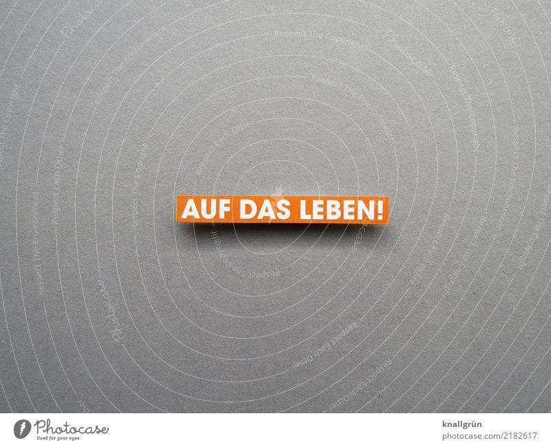 AUF DAS LEBEN! weiß Freude Leben Gefühle Glück grau orange Stimmung Zufriedenheit Schriftzeichen Kommunizieren Schilder & Markierungen Fröhlichkeit Lebensfreude