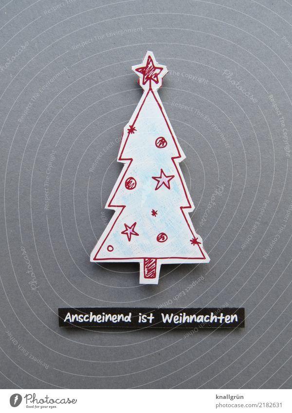 Anscheinend ist Weihnachten grün rot Freude Religion & Glaube Gefühle Feste & Feiern Zusammensein Stimmung Zufriedenheit Schriftzeichen Kommunizieren
