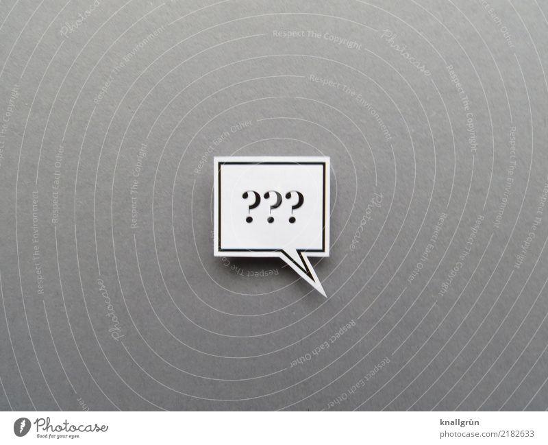 Drei Fragezeichen in einer eckigen Sprechblase Kommunizieren rätselhaft Fragen Hintergrund neutral Zeichen Schriftzeichen Farbfoto Gedeckte Farben Menschenleer