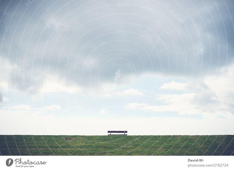 deichsicht Mensch Senior Leben Umwelt Natur Landschaft Wasser Schönes Wetter schlechtes Wetter Unwetter Küste Nordsee Ostsee ruhig Fernweh Deich Bank