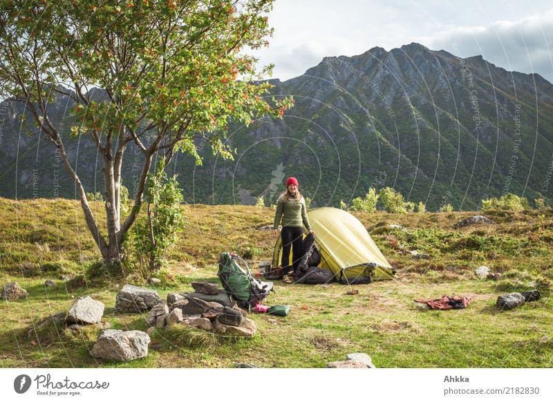 Kleines grünes Zelt unter einem Baum vor einem massiven Berghang Natur Ferien & Urlaub & Reisen Jugendliche Junge Frau Landschaft Erholung Ferne