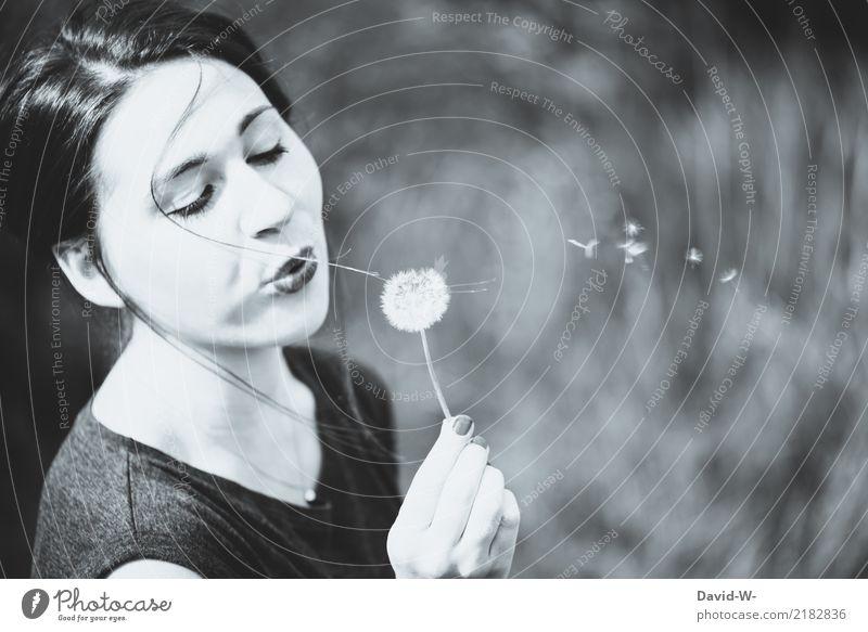 Pusteblume 2 Frau Mensch Natur Jugendliche Junge Frau Sommer schön Erholung ruhig Erwachsene Leben Umwelt Lifestyle Gesundheit feminin Kunst