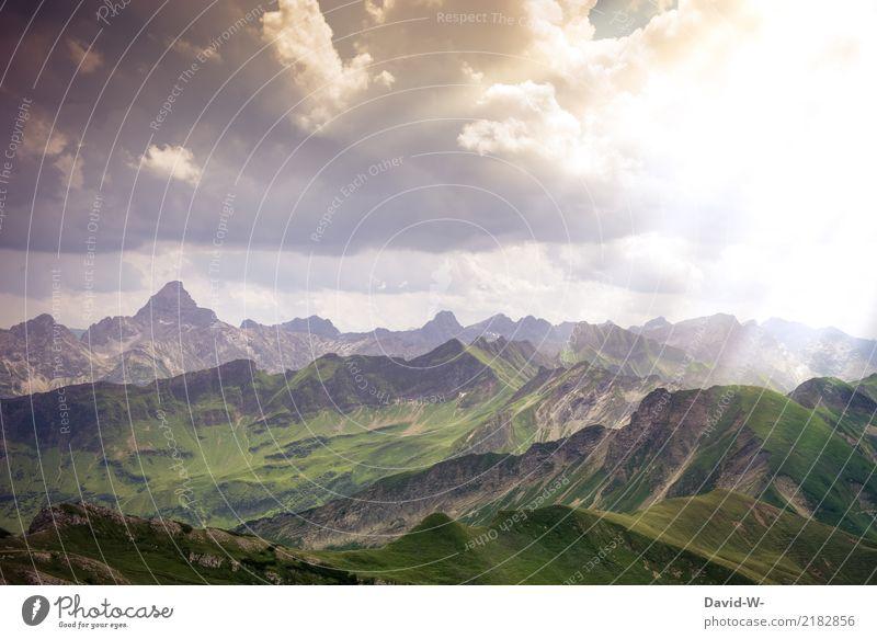 im Paradies angekommen Kunst Gemälde Umwelt Natur Landschaft Wolken Klima Klimawandel Schönes Wetter Alpen Berge u. Gebirge Gipfel schön paradiesisch